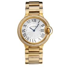 Cartier Ballon bleu de Cartier Diamond Bezel Full Yellow Gold with White Dial