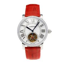Cartier Rotonde de Cartier Automatic Tourbillion Diamond Bezel with White Dial Red Leather Strap-18K Gold Plated Movement