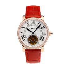 Cartier Rotonde de Cartier Automatic Tourbillion Diamond Bezel Rose Gold Case with White Dial Red Leather Strap-18K Gold Plated Movement