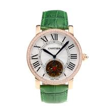 Cartier Rotonde de Cartier Automatic Tourbillion Diamond Bezel Rose Gold Case with White Dial Green Leather Strap-18K Gold Plated Movement