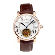 Cartier Rotonde de Cartier Automatic Tourbillion Rose Gold Case with White Dial Coffee Leather Strap-18K Gold Plated Movement