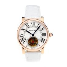 Cartier Rotonde de Cartier Automatic Tourbillion Rose Gold Case with White Dial White Leather Strap-18K Gold Plated Movement