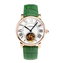 Cartier Rotonde de Cartier Automatic Tourbillion Rose Gold Case with White Dial Green Leather Strap-18K Gold Plated Movement