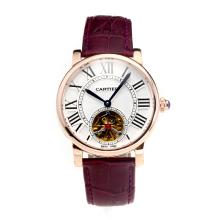 Cartier Rotonde de Cartier Automatic Tourbillion Rose Gold Case with White Dial Purple Leather Strap-18K Gold Plated Movement