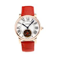 Cartier Rotonde de Cartier Automatic Tourbillion Rose Gold Case with White Dial Red Leather Strap-18K Gold Plated Movement