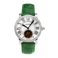 Cartier Rotonde de Cartier Automatic Tourbillion Diamond Bezel with White Dial Green Leather Strap-18K Gold Plated Movement