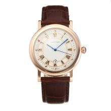 Cartier Classic Rose Gold Case with White Dial Leather Strap