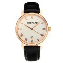 Chopard Classic Swiss ETA 2824 Automatic Rose Gold Case with White Dial Leather Strap-Sapphire Glass
