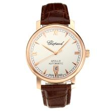 Chopard Apollo Swiss ETA 2824 Automatic Rose Gold Case with White Dial Leather Strap-Sapphire Glass