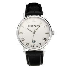 Chopard Classic Swiss ETA 2824 Automatic with White Dial Leather Strap-Sapphire Glass