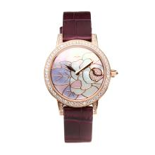 Jaeger Lecoultre Diamond Bezel Rose Gold Case with Rose Gold Flower Pattern Shell Dial Purple Leather Strap-Sapphire Glass