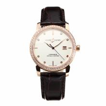Ulysse Mardin Diamond Bezel Rose Gold Case with White Dial Leather Strap-Sapphire Glass