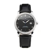 Ulysse Mardin Diamond Bezel with Black Dial Leather Strap-Sapphire Glass