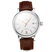 IWC Swiss ETA 2824 Automatic with White Dial Leather Strap-Rose Gold Markers-Sapphire Glass