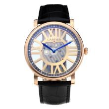 Cartier Classic Rose Gold Case with Hollow Champagne Dial Leather Strap