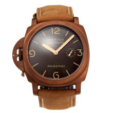 Panerai Luminor Marina Super Lominous Markers Unitas 6497 Movement Swan Neck Left Watch Crown Coffee Gold Case with Coffee Dial Leather Strap