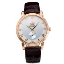 Omega De Ville Manual Winding Rose Gold Case with White Dial Leather Strap