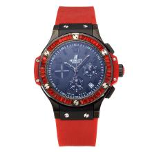 Hublot Big Bang Working Chronograph Diamond Bezel PVD Case with Blue Dial Red Rubber Strap