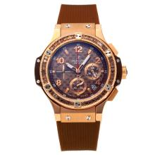 Hublot Big Bang Working Chronograph Diamond Bezel Rose Gold Case with Coffee Dial Rubber Strap