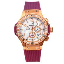 Hublot Big Bang Working Chronograph Diamond Bezel Rose Gold Case with White Dial Purple Rubber Strap
