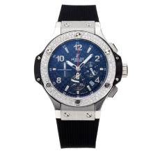 Hublot Big Bang Working Chronograph Diamond Bezel with Black Dial Rubber Strap