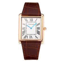 Cartier Tank Rose Gold Case with White Dial Leather Strap