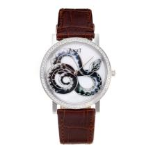 Piaget Dragon & Phoenix Collection Diamond Bezel with White Dial Leather Strap-1