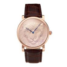 Cartier Classic Rose Gold Case with Champagne Dial Leather Strap