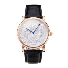 Cartier Classic Rose Gold Case with Silver Dial Leather Strap