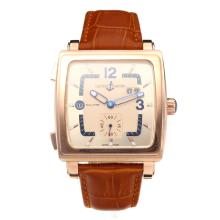 Ulysse Mardin Automatic Rose Gold Case with Champagne Dial Leather Strap