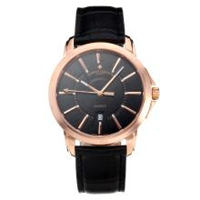 Vacheron Constantin Rose Gold Case with Black Dial Leather Strap