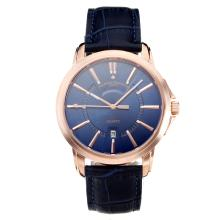 Vacheron Constantin Rose Gold Case with Blue Dial Leather Strap