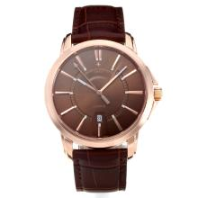 Vacheron Constantin Rose Gold Case with Coffee Dial Leather Strap