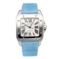 Cartier Santos 100 Swiss ETA 2688 Automatic Movement with White Dial Light Blue Leather Strap-Sapphire Glass