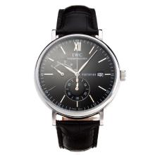IWC Portofino Working Chronograph with Black Dial Leather Strap-1