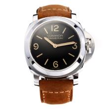 Panerai Luminor Marina Unitas 6497 Movement with Black Dial Leather Strap-Sapphire Glass