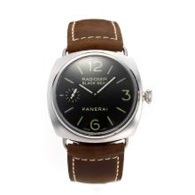 Panerai Radiomir Swiss ETA Unitas 6497 Movement Swan Neck with Black Dial Leather Strap-Sapphire Glass