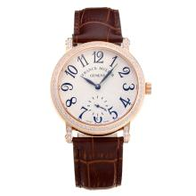 Frank Muller Master Square Diamond Bezel Rose Gold Case with White Dial Brown Leather Strap
