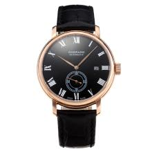 Chopard Classic Automatic Rose Gold Case with Black Dial Leather Strap