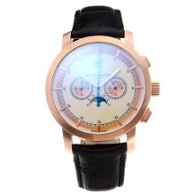 Vacheron Constantin Working Chronograph Rose Gold Case with White Dial Leather Strap-1