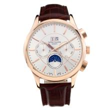 Patek Philippe Automatic Rose Gold Case with White Dial Leather Strap-Stick Markers