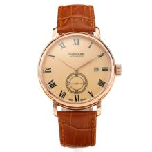 Chopard Classic Automatic Rose Gold Case with Champagne Dial Leather Strap