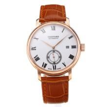 Chopard Classic Automatic Rose Gold Case with White Dial Leather Strap