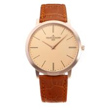 Jaeger Lecoultre Rose Gold Case with Champagne Dial Leather Strap