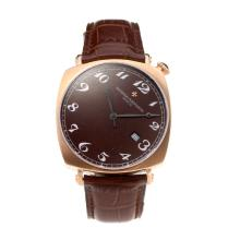 Vacheron Constantin Swiss ETA 2824 Movement Rose Gold Case with Brown Dial Leather Strap