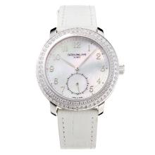 Patek Philippe Swiss ETA Movement Diamond Bezel with White MOP Dial Leather Strap-Sapphire Glass