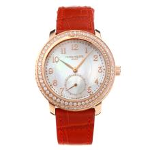 Patek Philippe Swiss ETA Movement Diamond Bezel Rose Gold Case with White MOP Dial Leather Strap-Sapphire Glass