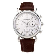 Vacheron Constantin Working Chronograph with White Dial Leather Strap