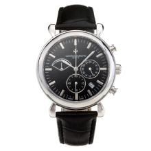 Vacheron Constantin Working Chronograph Stick Marking with Black Dial Leather Strap