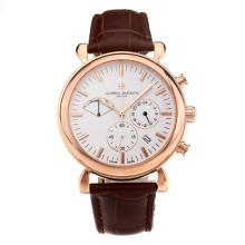 Vacheron Constantin Working Chronograph Rose Gold Case with White Dial Leather Strap